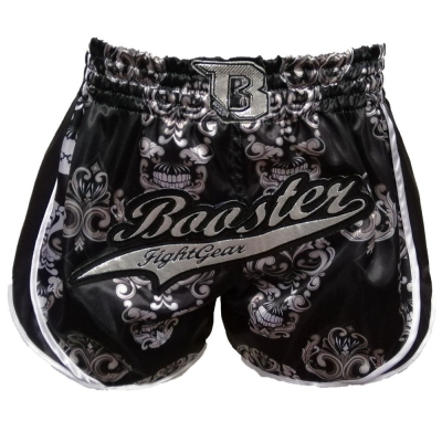 Booster kickboksbroek retro skull black p1188