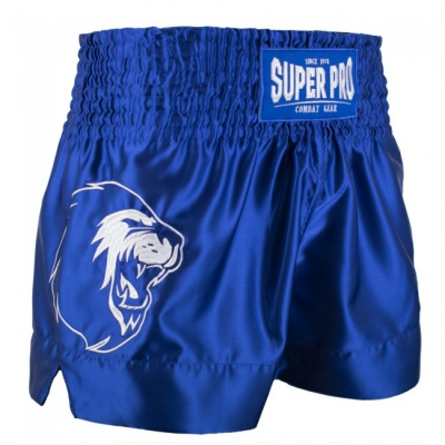 Super pro kickboksbroek hero blauw wit p1211