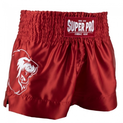 Super pro kickboksbroek hero rood wit p1210